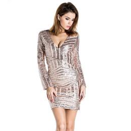 Elegant Celebrity Bodycon Bandage Dress Geometric V-Neck Sexy Fashion  Sequined Above Knee 4aca668a04ec