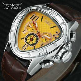 $enCountryForm.capitalKeyWord Australia - Jaragar Fashion Sporty Men Auto Mechanical Watch Genuine Leather Strap 6 Hands 24h Date Display Triangle Case Creative Watch Y19052301