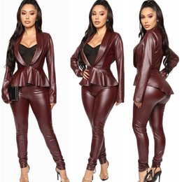 Wholesale leather sleeve cardigan resale online – Stunning Burgundy PU Leather Pants Sets Elegant Women Long Sleeves Ruffles Coat Pants Fashion Lady Party Nightclub Office Lady Outfits