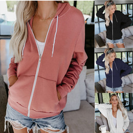 $enCountryForm.capitalKeyWord Australia - New Autumn Solid Color Long Sleeve Pulling Rope Even Hat Zipper Sweater Suit-dress Chaqueta Mujer Coat Women