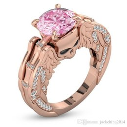 pink pave ring UK - Punk Fashion Jewelry 18K Rose Gold Filled Round Cut Pink Sapphire CZ Diamond Gemstone Women Wedding Skull Band Ring For Valentine's Day
