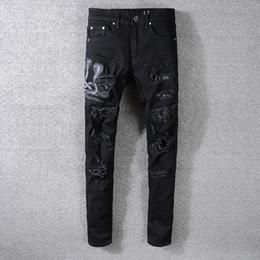 Legging Destroyed Australia - 2019SS New Fashion AMIRI High Street Black Destroy Jeans Men's Cobra Embroidered Stretch Tight Leg Pants Free shippin