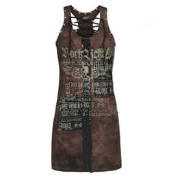 $enCountryForm.capitalKeyWord UK - Summer Sexy Bodycon Gothic Dress Women Mini Chic Clubwear Exotic Skull Punk Stretch Plus Size Red Casual Bandage Shirt Dress T3190614