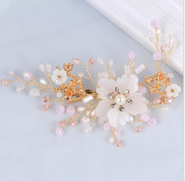 ce92b51f1 Red floweR haiR clip wedding online shopping - European and American bride  crystal tray hairpin wedding