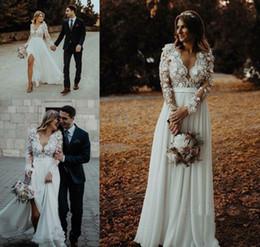 78332e8093c Cheap Bohemian Long Sleeves Wedding Dress A Line Chiffon Beach Country  Garden Church Formal Bridal Gown Custom Made Plus Size