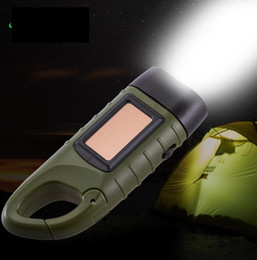 portable crank flashlight Australia - Creative hand crank generate electricity flashlight Carabiner hook keychain solar power led Flashlights Torches portable outdoor torch lamp