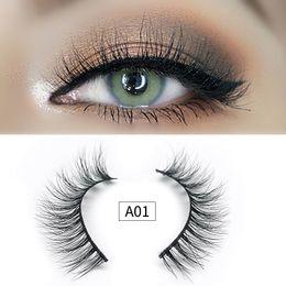 $enCountryForm.capitalKeyWord Australia - Handmade makeup false eyelashes A series 3D mink lashes extension natural long plastic cotton stalk fake lashes