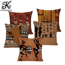 printed sofa cloth Australia - Miracille Dancing Woman Ethnic Cushion Cover African Style Pillow Case Linen Cotton Color Cloth for Sofa Throw Pillows