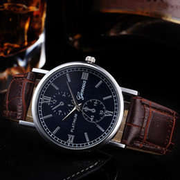 watch business for men Australia - Retro Design Leather Band Analog Alloy Quartz Wrist Watch Men's watch Wrist Party decoration Business gif for male man boy