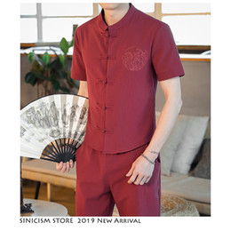 linen tang suit Australia - Sinicism Store Men's Sets Embroidery Streewear 2019 Cotton Linen Tracksuit Male Summer Men Tang Suit Chinese Style Track Suit