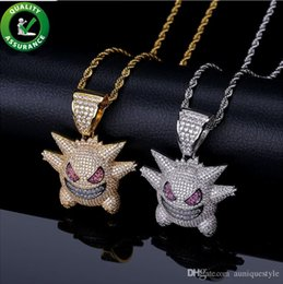 $enCountryForm.capitalKeyWord NZ - Hip Hop Jewelry Iced Out Pendant Mens Luxury Designer Necklace Cartoon Ghost Diamond Bling CZ with Rope Chain Wedding Christmas Accessories