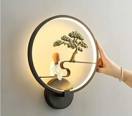 Wall Bedside Table Australia - Led table lamp, stylish personality wall lamp, creative living room bedroom bedside lamp, welcome pine led round lamp