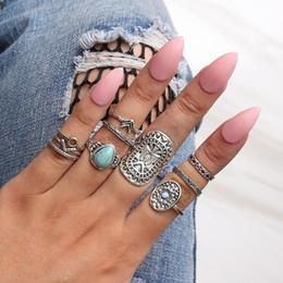 Boho Style Rings Australia - 10 Pcs Lot Turquoise ring set retro vintage women silver wedding ring set boho bohemia style fashion jewelry wholesale factory selfdesign
