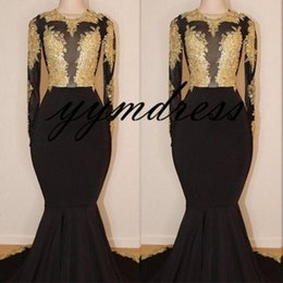 black open back party dresses Australia - Black Mermaid Evening Dresses 2019 Long Sleeves Appliques Beads Open Back Sweep Train See Through Arabic Evening Party Gowns Customized