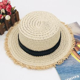korean gardening hat NZ - Korean version of laffei straw edge stylish sunshade breathable spring and autumn short eaves sun block flat top hat fcmZB-216