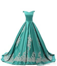chic formal evening gown UK - 2019 Green A Line Satin Prom Dresses Off the Shoulder Chic Lace Appliqued Long Formal Occasion Wear Custom Made Evening Gown