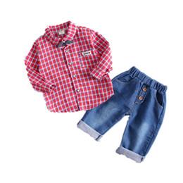 c361eac9d2c4b Spring Autumn Baby Boys Girls Clothing Toddler Fashion Casual Tie Plaid  Shirt Jeans 2pcs sets Kids Clothes Children Sport Suit