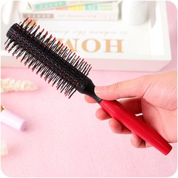 hair holder comb UK - 1 Pcs Comb Hairbrush Roll Round Diy Curly Hair Brushes Antistatic Wood Handle Curling Hairdressing Style Combo Pocket Long Holder Charming A