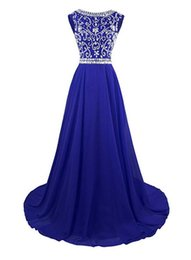 heavy red evening gowns UK - Royal Blue High Quality Jewel Prom Dresses Long Evening Gowns Sweep Train Chiffon Prom Dress Cap Sleeve With Heavy Beading