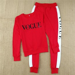 red tracksuits for women Canada - New Autumn Winter Women Two Piece Clothing Set Casual Fashion Vogue Sweatshirt+ Long Pants Tracksuit for Women Hoodie Suit Clothes