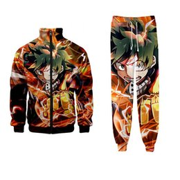 Wholesale anime womens hoodies resale online - New Fashion Mens Womens Anime My Hero Academia Funny D Print Casual Zipper Hoodies Jackets Pants SK12