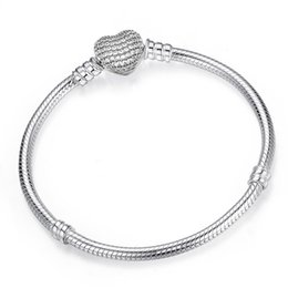 Wholesale Authentic Sterling Silver Plated Bracelet Fit Pandora Charms Heart Pave CZ Bangle European Beads silver Jewelry For Women