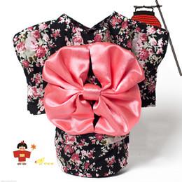Dot Costumes Australia - Pet Clothing Dog Dress Clothes Floral Japanese Kimono Bow Tie Shirt Costume Princess Dress Vestido Pet