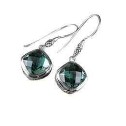 $enCountryForm.capitalKeyWord Australia - Fashion 925 Sterling Silver Square Green Quartz Dangle Drop Earrings Handcraft Chinese Style Women Ear Jewelry