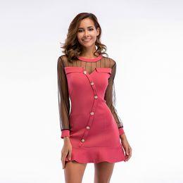 $enCountryForm.capitalKeyWord Canada - 2018 hot sale female lace dress slim-fit slim knit stitching mesh dress casual solid dress