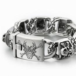 $enCountryForm.capitalKeyWord Australia - Linsion Huge Heavy 316l Stainless Steel Deep Laser Engraved Pirate Skull Mens Boys Biker Rock Punk Bracelet 5t102 Y19051002