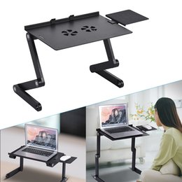 bedding padding Australia - Hot Sales Foldable Laptop Table Stand Cooler Vented Computer Desk Bed Lap Tray 360 Degree Adjustable with Mouse Pad Cooling Fans