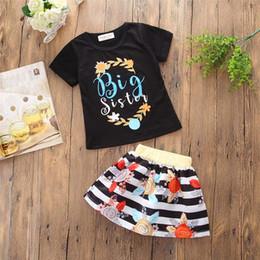 Shirt Styles For Girls Australia - European and American style kids summer cloth set black cotton t-shirt +multicolor Short skirt for girl