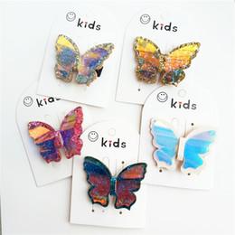 $enCountryForm.capitalKeyWord Australia - New sequin 3D butterfly girls hair clips glisten princess baby BB clips hair bows kids barrettes designer hair accessories for kids A6273