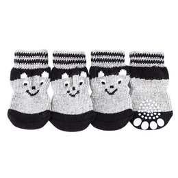 canvas dog shoes UK - 4 pcs Lovely Pet Puppy Soft Warm Socks Boots Winter Canvas Dog Shoes Small Dogs S-XL