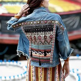 industry jackets NZ - New heavy industry handmade ethnic style loose Denim female jacket autumn vintage ethnic appliques Embroidery tassel loose coat