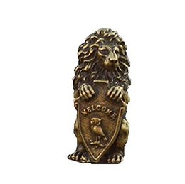 Statue lion online shopping - China collection archaize solid brass lion shield Small statue