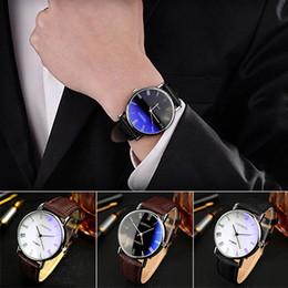 $enCountryForm.capitalKeyWord Australia - Popular Men Roman Numerals Blu-Ray Faux Leather Band Quartz Analog Business Watch