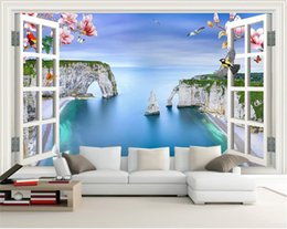 house window stickers Canada - custom size 3d photo wallpaper living room bed room mural window magnolia bird sea view picture sofa TV backdrop wallpaper non-woven sticker