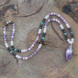 buddhist necklaces UK - 8mm Amethyst And Amethyst Pendant,Apatite,JapaMala Necklace,Namaste Yoga Jewelry, Buddhist Mala Prayer Bead,mala, 108 Mala Beads