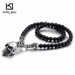 Necklaces Pendants Australia - Kalen African Glass Beads 47cm Long Chain Necklaces For Men Punk Stainless Steel Skull Head Pendant Statement Necklaces Jewelry Y19050901