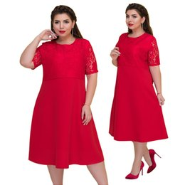 Wholesale Lguc H Large Size Dress Women Short Sleeve High Waist Dress Big Size Summer Fashion Red Mom Lace Plus xl xl xl