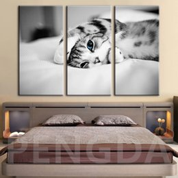 Black white framed posters online shopping - Canvas Painting Wall Art HD Prints Poster Home Decor Black and White Cat Animal Modern For Living Room Modular Pictures Framed