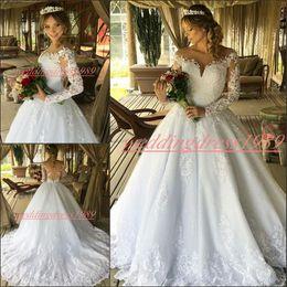 $enCountryForm.capitalKeyWord UK - Vintage Lace Plus Size Arabic Wedding Dresses Church Train Applique 2020Tulle Country Wedding Gowns Long Sleeve Bride Ball vestido de noiva