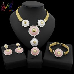 $enCountryForm.capitalKeyWord Australia - Yulaili New African Beads Crystal Jewellery Dubai Gold Necklace Earrings Bracelet Ring for Women Wedding Bridal Jewelry Sets