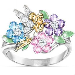 $enCountryForm.capitalKeyWord Australia - Purple Blue Pink Crystal flowers cute fairy Party rings for women Luxury Silver color Jewelry birthday present for girlfriend