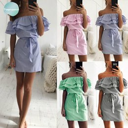 Cloth bandages online shopping - Women Dresses Cheap Cloth Striped Sashes Summer Dress Ruffle Collar Bandage Sundress Festa Sexy Vestidos De Oym0304