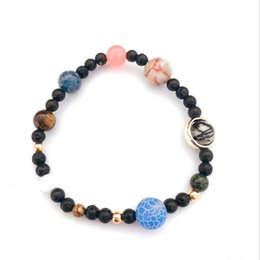 saturn charms Australia - Solar System 9 Planets Universe Stars Women Office Style Natural Stones Beaded Stretch Strand Bracelets Saturn Earth Moon