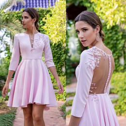 silver falls Australia - 3 4 Sleeves Pink A Line Satin Homecoming Dresses 2019 Fall winter 3D Lace Cocktail Dress Ruffles Short Prom Gowns
