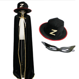 black zorro masks 2020 - Zorro costume velvet cape with felt hat and leather mask for kids boys adult Halloween party