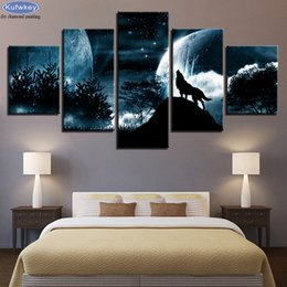 $enCountryForm.capitalKeyWord NZ - Full square round diamond embroidery Moon Night Forest Wolf mosaic diamond Picture 5pcs set 5d diy diamond painting cross stitch